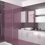 Modern purple bathroom with white furniture. Modern bathroom with purple tiles and white furniture Royalty Free Stock Photography