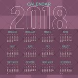 2018 Modern Purple Geometric Pattern Printable Calendar Starts Sunday Royalty Free Stock Images