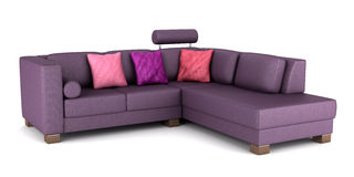 Modern purple leather couch with pillows isolated Royalty Free Stock Photo