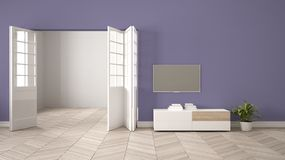 Modern purple living room with white furniture and tv, blank wall background with open door, herrigbone parquet, template. Background with copy space, interior royalty free illustration