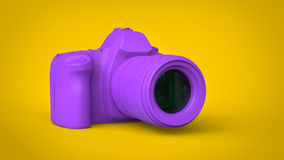 Modern purple photo camera - 3D illustration. Modern purple photo camera - abstract 3D illustration Stock Photo