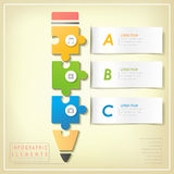 Modern puzzle pencil infographic elements Royalty Free Stock Image