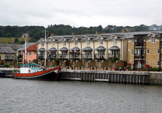 Modern quayside home. Modern homes beside the dock in bristol, england royalty free stock images