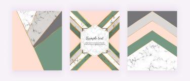 Modern räkning med geometrisk design, guld- rosa, gråa och gröna triangulära former för linjer, Modebakgrunder för inbjudan, wedd vektor illustrationer