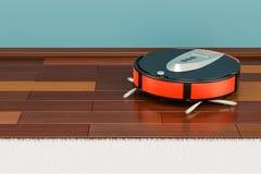 Modern röd robotic dammsugare i rummet, tolkning 3D royaltyfri illustrationer