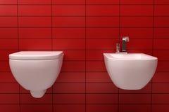 modern röd tegelplattatoalett Arkivfoto