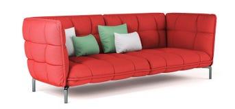 Modern röd vadderad tygsoffa på metallben med kuddar på isolerad vit bakgrund Möblemang inre objekt Ljus scharlakansrött stock illustrationer