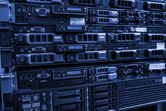Rackmount LED console in server room data center royalty free stock images