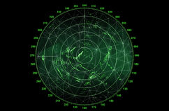 Modern radar screen. With green round map and digital wire frame surface on black background Royalty Free Stock Photos