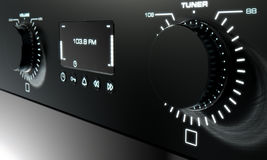 Modern Radio Face. A 3D render closeup of the front face of a modern black radio with illuminated dials and a digital screen vector illustration