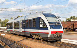 Modern railbus on Kremenchug station Stock Images