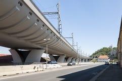 Modern railroad bridge in Prague Stock Photo