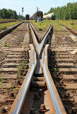 Modern railroad junction perspective Royalty Free Stock Image