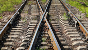 Modern railroad junction perspective Royalty Free Stock Photo