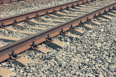 The modern railroad tracks with concrete sleepers royalty free stock photos