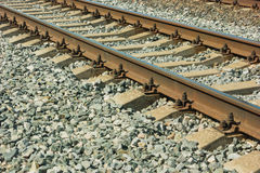 The modern railroad tracks with concrete sleepers stock photography