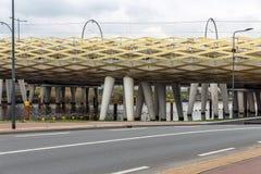 Modern railway bridge across river Dieze in Dutch city s-Hertogenbosch stock image