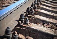Modern railway, closeup photo Royalty Free Stock Photos