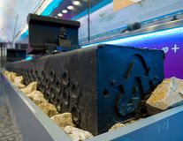 Modern railway sleepers made of plastic by recycling technology Stock Image