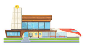 Modern Railway Station Flat Front View. Modern steel glass railway station building front view flat image with speed intercity train vector illustration Royalty Free Stock Image