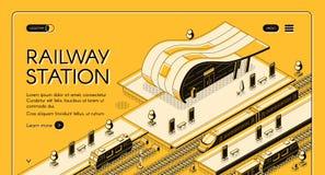 Modern railway station isometric vector webpage royalty free illustration