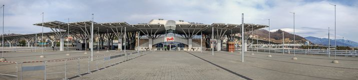 ADLER, RUSSIA - FEBRUARY 25, 2017: Olympic Park railway station. stock photo