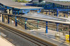 Modern railway station in Tarragona (Spain): platforms, tracks, Royalty Free Stock Photography