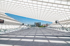 Modern railway station with transparent ceiling and blue sky Royalty Free Stock Photos