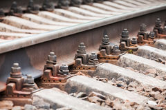 Modern railway track details, close up photo Stock Photography
