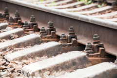 Modern railway track details, closeup photo Stock Image