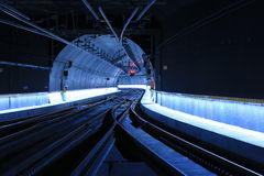 Modern Railway Tunnel. Twin track railway tunnel equipped with up to date technologies and track change Stock Image