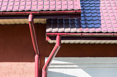 Modern rain gutter system Royalty Free Stock Photo