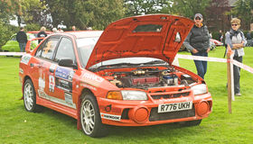 Modern Rally car seen at Fortrose. Stock Photos
