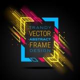 Modern ram för vektor med glödande linjer för geometriskt neon som isoleras på svart bakgrund Konstdiagram med tekniskt feleffekt royaltyfri illustrationer