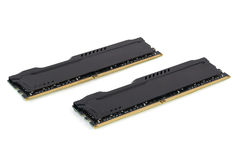 Modern RAM memory modules with black radiator Stock Photo