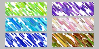 Modern random diagonal stripe pattern banner background design set - horizontal rectangle vector graphics. From rounded stripes in colorful tones Royalty Free Stock Images