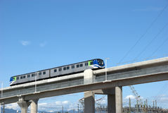 Modern Rapid Transit. Modern public rapid transit technolgy capable of moving a mass of people from downtown Vancouver to YVR airport. This technology is modern Stock Photos