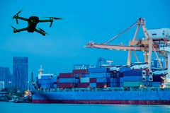 Shipping port. Logistics cargo ship and drone. Modern RC Drone / Quadcopter with camera flying on container cargo ship at shipping port. double exposure stock photo