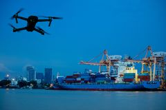 Shipping port. Logistics cargo ship and drone Royalty Free Stock Photos