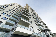 Modern real estate building. Modern empty real estate building exterior Stock Photography