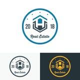 Modern Real Estate Logo Template Abstract Uitstekend Huis Logotyp royalty-vrije illustratie