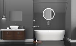 Modern Realistic Bathroom Interior Design Stock Images