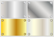 Modern realistic gold and silver banners Stock Images