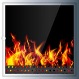 Modern realistic Hi-tech fireplace made of modern materials with. A burning flame inside. Realistic flames and sparks.3D effect. Vector illustration Stock Images