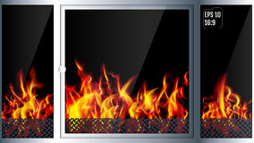 Modern realistic Hi-tech fireplace made of modern materials with. A burning flame inside. Realistic flames and sparks.3D effect. Vector illustration Stock Photography