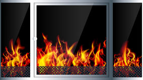 Modern realistic Hi-tech fireplace made of modern materials with. A burning flame inside. Realistic flames and sparks.3D effect. Vector illustration royalty free illustration