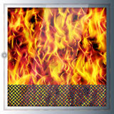 Modern realistic high-tech fireplace. Modern technologies and ma. Terials. Realistic flames and sparks. Light shade and 3D effect. Vector illustration Royalty Free Stock Image