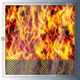 Modern realistic high-tech fireplace. Modern technologies and ma Royalty Free Stock Photos