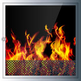 Modern realistic high-tech fireplace. Modern technologies and materials. Realistic flames and sparks. Light shade and 3D effect. Vector illustration Stock Image