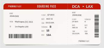 Modern realistic plane boarding pass. Filled with name and destination airplane ticket royalty free illustration